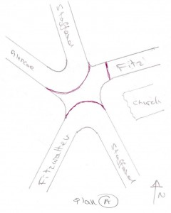 Doug Bell's plan for the Fitzwalter/Stafford/Glencoe Road juction