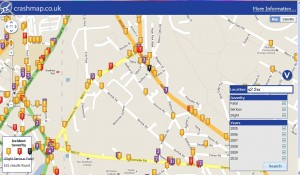 screenprint from crashmap website showing road traffic accidents in S2