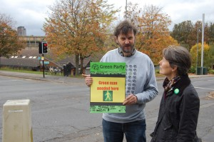 Graham Wroe with Councillor Jillian Creasy at Duke Street traffic lights.